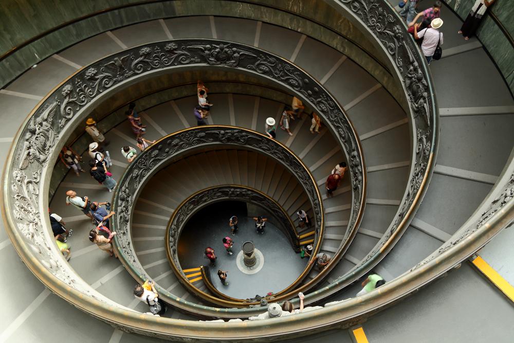 Escalier de Bramante au Vatican, Rome.